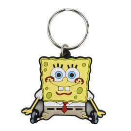 China Custom Sponge Bob Character Soft PVC Rubber Keychain, 2D Flat Soft Touch PVC Keyring With Logo supplier