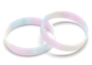 Flexible Embossed Silicone Bracelets Heat Resistance No Harmful For Skin