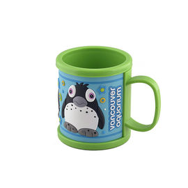 China Creative Promotional Soft Touch PVC Plastic Mug Customized Logo by 2D or 3D or Printing Effect factory