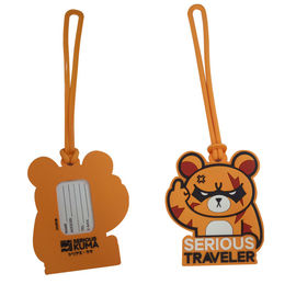 China Custom Cartoon Design 3D Embossed Logo Soft Touch PVC Silicone Plastic Luggage Tag Souvenir factory