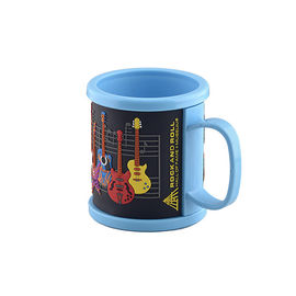 China Custom Promotional Cheap 3D Rubber Soft Touch PVC Logo Part Filled with bright Colors Plastic Coffee Mug factory