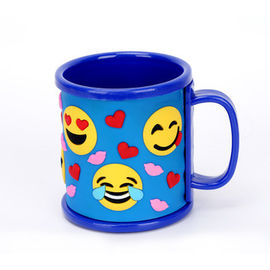 Promotional Emoji Soft Touch PVC Logo Wrapped On Plastic ABS Mug For Children's Pencil Vase