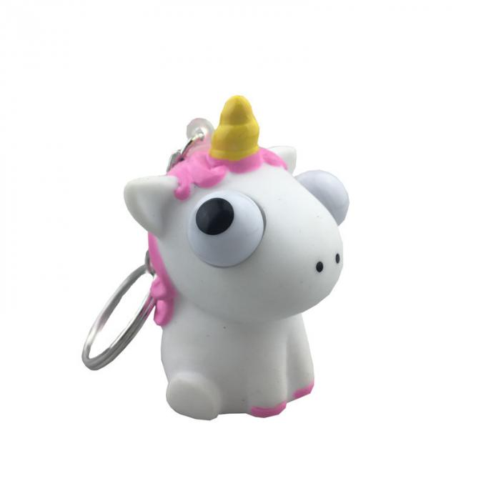 Creative Cartoon PVC Soft Rubber Unicorn Eyes Pop Out Key Chain, Custom Anime Toys, Eye Pop Out Squeeze Toys