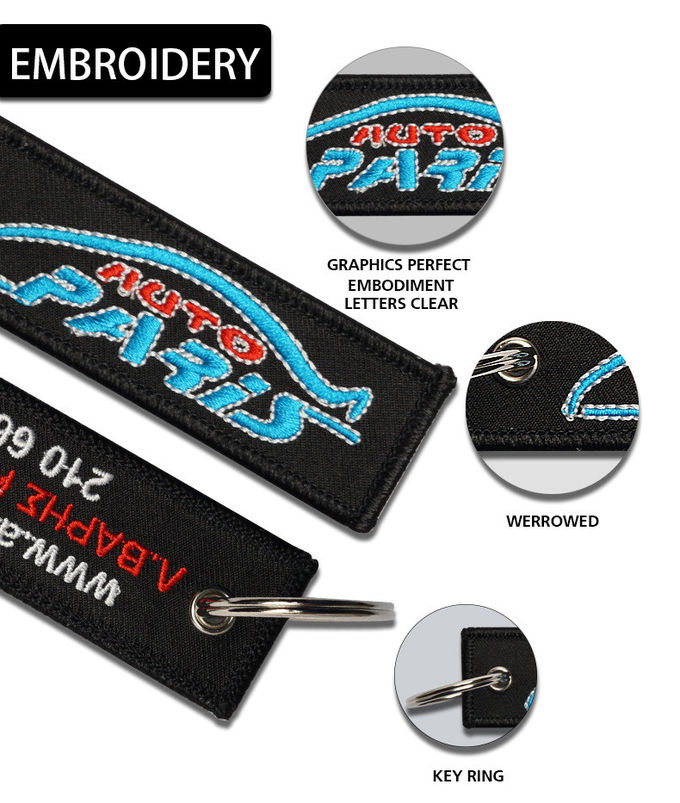 Non - Toxic Embroidered Key Tags Comfortable Touchness For Advertising